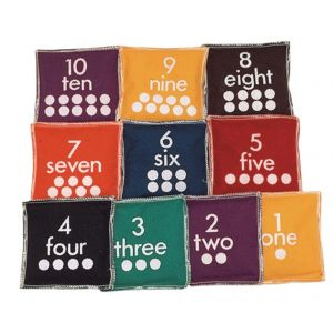 12cm Square Numbered Beanbags - Pack of 10